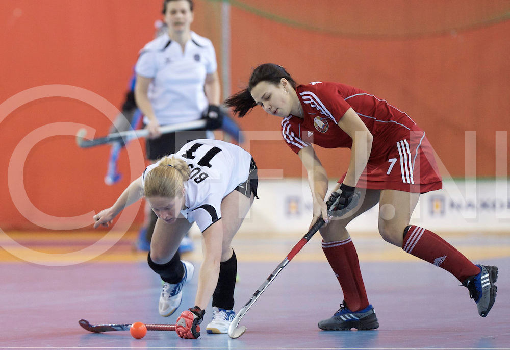 Prague - EuroHockey Indoor Championship (W) 2014<br /> 01 BLR v AUT (Pool B)<br /> foto: BUSCH Julia.  (L0 and PAKHANAVA Maryna.<br /> FFU PRESS AGENCY COPYRIGHT FRANK UIJLENBROEK