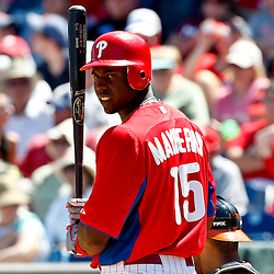 March 25, 2012; Clearwater, FL, USA; Philadelphia Phillies center fielder John Mayberry Jr. (15) at bat during the bottom of the fifth inning of a spring training game against the Baltimore Orioles at Bright House Networks Field. Mandatory Credit: Derick E. Hingle-US PRESSWIRE