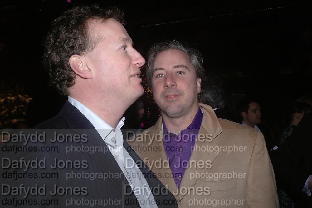 Orlando Fraser and  Ben Anderson. The Black and White Winter Ball. Old Billingsgate. London. 8 February 2006. -DO NOT ARCHIVE-© Copyright Photograph by Dafydd Jones 66 Stockwell Park Rd. London SW9 0DA Tel 020 7733 0108 www.dafjones.com
