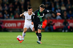 Bojan Krkic of Stoke City is challenged by Jack Cork of Swansea City - Mandatory byline: Rogan Thomson/JMP - 07966 386802 - 19/10/2015 - FOOTBALL - Liberty Stadium - Swansea, Wales - Swansea City v Stoke City - Barclays Premier League.