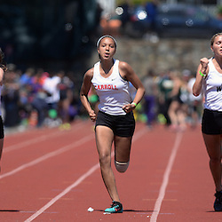 Staff photos by Tom Kelly IV<br /> Archbishop Carroll's Divonne Franklin (center) placed third in the girls AAA 100m dash during the District 12 track and field championships in Philadelphia, Thursday afternoon.