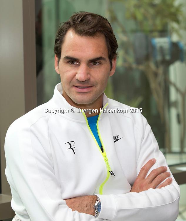 Roger Federer (SUI)<br /> <br /> Tennis - Dubai Duty Free Tennis Championships - ATP -   - Dubai -  - United Arab Emirates  - 22 February 2015. <br /> &copy; Juergen Hasenkopf