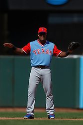 SAN FRANCISCO, CA - AUGUST 26: Adrian Beltre #29 of the Texas Rangers stands on the field during the eighth inning against the San Francisco Giants at AT&T Park on August 26, 2018 in San Francisco, California. The San Francisco Giants defeated the Texas Rangers 3-1. All players across MLB will wear nicknames on their backs as well as colorful, non-traditional uniforms featuring alternate designs inspired by youth-league uniforms during Players Weekend. (Photo by Jason O. Watson/Getty Images) *** Local Caption *** Adrian Beltre