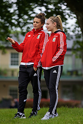 CARDIFF, WALES - Wednesday, June 1, 2016: Wales women's players Nia Jones and Charlie Estcourt during a training session at the Vale Resort Hotel ahead of the International Friendly match against Sweden. (Pic by David Rawcliffe/Propaganda)