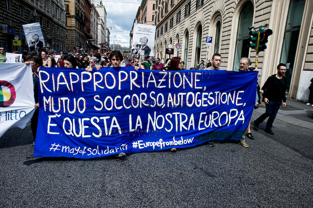Roma 17 Maggio 2014<br /> Manifestazione nazionale  contro la privatizzazione dei beni comuni, contro i piani del governo di riforma del mercato del lavoro e contro le grandi opere.<br /> Rome May 17, 2014 <br /> National demonstration against the privatization of the commons, against the government's plans to reform job market  and against the great works.