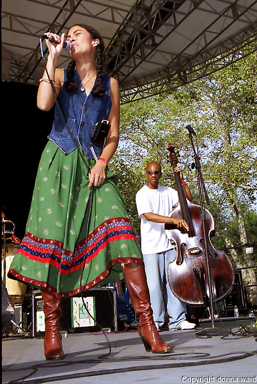 Singer Amel Larrieux performs to celebrate SOB's 20th Anniversary at SummerStage in Central Park on September 14, 2002.