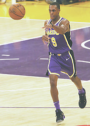 November 7, 2018 - Los Angeles, California, U.S - Ramon Rondo #9 of the Los Angeles Lakers passes the ball during their NBA game with the Minneapolis Timberwolves on Wednesday November 7, 2018 at the Staples Center in Los Angeles, California. Lakers defeat Timberwolves, 114-110. (Credit Image: © Prensa Internacional via ZUMA Wire)