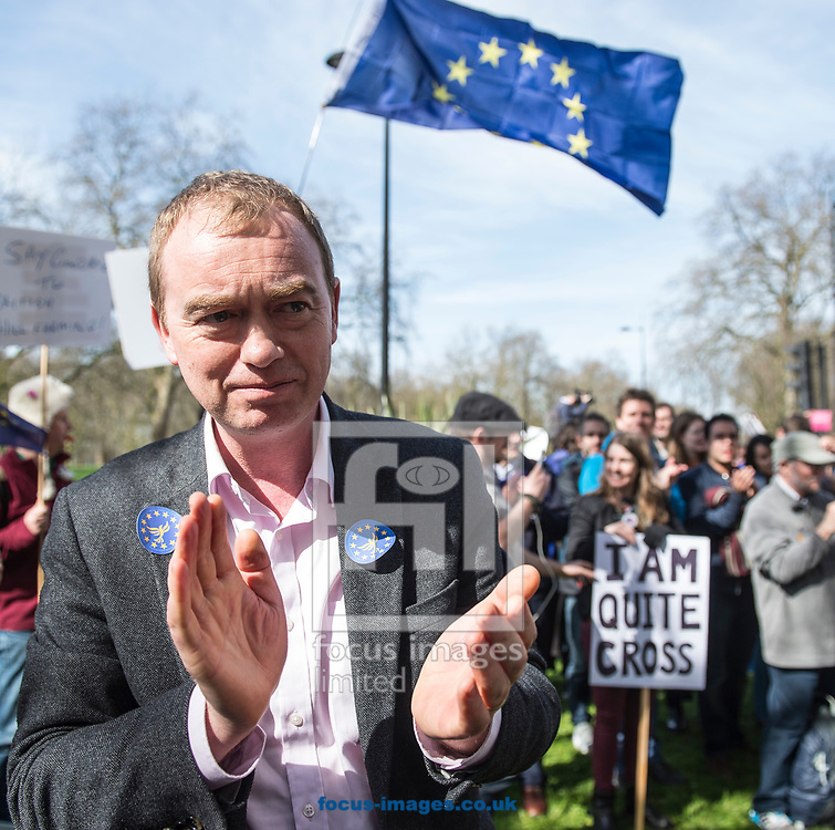 Tim Farron, leader  of the Liberal Democrats, has announced he is standing down in the wake of the General Election.  Westminster, London<br /> Picture by Daniel Hambury/Stella Pictures Ltd 07813022858<br /> 14/06/2017<br /> <br /> SPL TIM FARRON MP 14.jpg<br /> <br /> Original Caption:<br /> Tim Farron MP addresses members of the Liberal Democrats ahead of Unite for Europe march, starting in Park Lane and ending in a rally in Parliament Square.<br /> Picture by Daniel Hambury/Stella Pictures Ltd 07813022858<br /> 25/03/2017