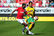 London - Saturday, April 17th 2010: Akpo Sodje of Charlton Athletic and Oli Johnson of Norwich City during the Coca Cola League One match at The Valley, Charlton...(Pic by Alex Broadway/Focus Images)