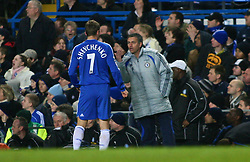London, England - Tuesday, January 23, 2007: Chelsea's Andriy Shevchenko and Jose Mourinho against Wycombe Wanderers during the League Cup Semi-Final 2nd Leg match at Stamford Bridge. (Pic by Chris Ratcliffe/Propaganda)