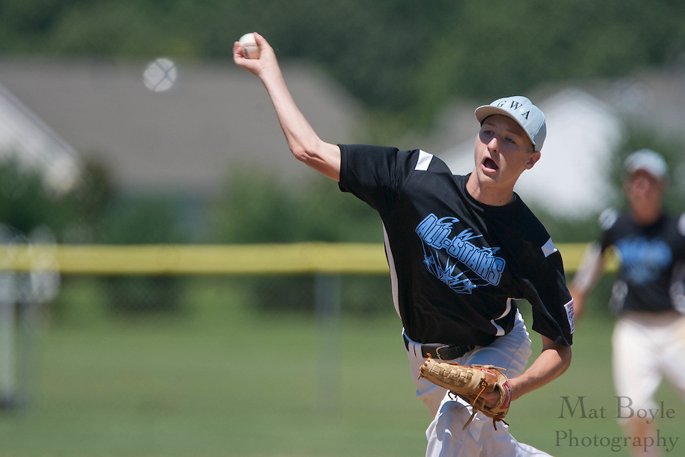 Pennsylvania's Collin Herrow pitches during the winner take all final of the Eastern Regional Senior League tournament between Pennsylvania and Maryland held in West Deptford on Thursday, August 11.