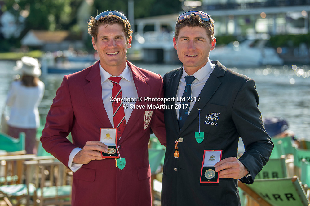 The Double Sculls Challenge Cup winners at HRR2017 Chris Harris (Aramaho Wanganui RC) and John Storey (Avon RC) Mens Double Scull at  Henley on Thames, United Kingdom. Sunday 2nd July 2017. © Copyright Steve McArthur / www.photosport.nz