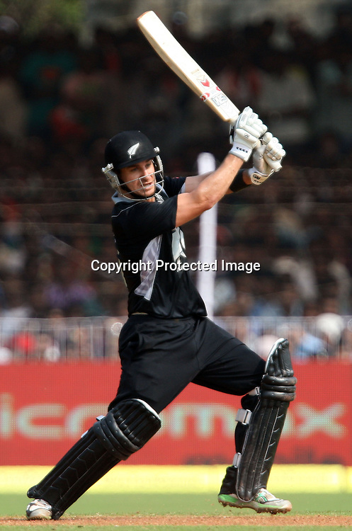 New Zealand batsman Nathan McCullum hit a shot against India during the 3rd ODI India vs New Zealand Played at Reliance Stadium, Vadodara<br /> 4 December 2010 (50-over match)