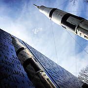 Gary Cosby Jr.  iPhone photographs<br /> Saturn 1B rocket reflected in the Vietnam Veterans Memorial Wall at the Alabama Welcome Center.