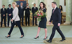 January 11, 2019 - Warsaw, Poland - (L-R) Agata Kornhauser-Duda, Agnieszka Radwanska, Andrzej Duda, attend during an award ceremony of the Order of Polonia RestitutaIn in Warsaw, Poland, on 11 January 2019. (Credit Image: © Foto Olimpik/NurPhoto via ZUMA Press)