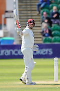 Somerset's Marcus Trescothick reaches his half century - Somerset's Marcus Trescothick raises his bat to celebrate  making his 50 during the Specsavers County Champ Div 1 match between Somerset County Cricket Club and Lancashire County Cricket Club at the County Ground, Taunton, United Kingdom on 4 May 2016. Photo by Graham Hunt.