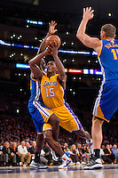 09 November 2012: Forward (15) Meta World Peace of the Los Angeles Lakers drives to the basket against the Golden State Warriors during the second half of the Lakers 101-77 victory over the Warriors at the STAPLES Center in Los Angeles, CA.