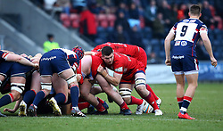 Sam Graham of Bristol Rugby takes part in a scrum - Mandatory by-line: Robbie Stephenson/JMP - 13/01/2018 - RUGBY - Castle Park - Doncaster, England - Doncaster Knights v Bristol Rugby - B&I Cup