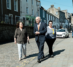In front of the iconic Forth Rail Bridge, Liberal Democrat leader Vince Cable, former Change UK lead candidate David MacDonald, Lib Dem European election candidates and party activists unveiled a new election poster calling on Remain voters to unite to stop Brexit.<br /> <br /> Pictured: EU candidate Sheila Ritchie, Sir Vince Cable MP and Christine Jardine MP <br /> <br /> Alex Todd | Edinburgh Elite media