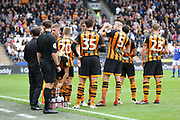 Hull City players take drinks whilst play has stopped during the EFL Sky Bet Championship match between Hull City and Ipswich Town at the KCOM Stadium, Kingston upon Hull, England on 15 September 2018. Picture Mick Atkins