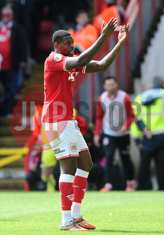Bristol City's Jay Emmanuel-Thomas celebrates   - Photo mandatory by-line: Joe Meredith/JMP - Mobile: 07966 386802 - 03/05/2015 - SPORT - Football - Bristol - Ashton Gate - Bristol City v Walsall - Sky Bet League One