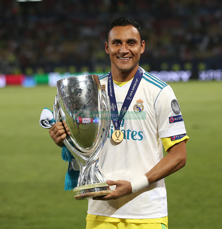 August 8, 2017 - Skopje, Macedonia - Real Madrid's Costa Rican goalkeeper Keylor Navas poses for a picture with his trophy after winning the UEFA Super Cup football match between Real Madrid and Manchester United on August 8, 2017, at the Philip II Arena in Skopje. (Credit Image: © Raddad Jebarah/NurPhoto via ZUMA Press)