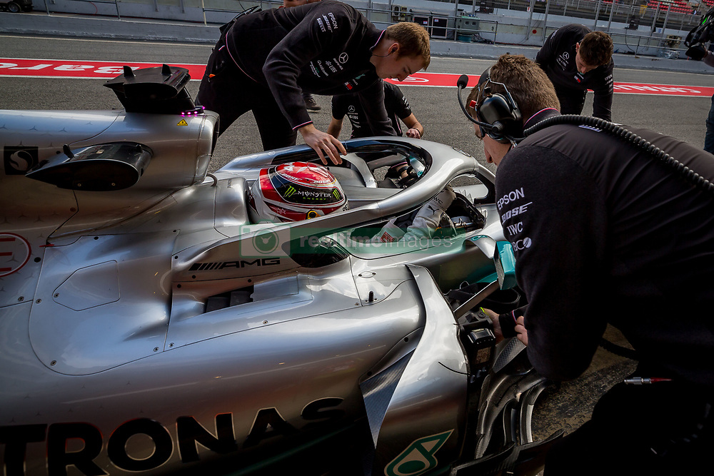 February 19, 2019 - Barcelona, Spain - Lewis Hamilton of Mercedes AMG Petronas Formula One Team with new W10 car  into the Pitlane during second journey of F1 Test Days in Montmelo circuit, on February 19, 2019. (Credit Image: © Javier MartíNez De La Puente/NurPhoto via ZUMA Press)