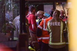 © Licensed to London News Pictures. 15/08/2019. London, UK. View inside Clapham North Station, where emergency services respond to an incident involving a man who reportedly took his life in front of his family, jumping onto the tracks as a train pulled into the platform. Attending HEMS Air Ambulance, fire crews and paramedics were unable to save the man. Photo credit: Guilhem Baker/LNP