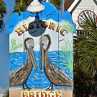 Bridge Street Pier Sign in Bradenton Beach, Florida<br />
