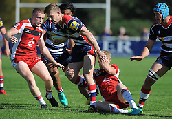 Auguy Slowik of Bristol United is tackled by Mat Protheroe of Gloucester United - Mandatory by-line: Paul Knight/JMP - 02/10/2016 - RUGBY - Hyde Park - Taunton, England - Bristol United v Gloucester United - Aviva A League