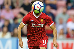 WIGAN, ENGLAND - Friday, July 14, 2017: Liverpool's new signing Mohamed Salah in action against Wigan Athletic during a preseason friendly match at the DW Stadium. (Pic by David Rawcliffe/Propaganda)