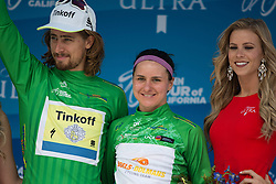 Green jersey winners Peter Sagan (SVK) and Megan Guarnier (USA) of Boels-Dolmans Cycling Team stand on the podium after the fourth, 70 km road race stage of the Amgen Tour of California - a stage race in California, United States on May 22, 2016 in Sacramento, CA.