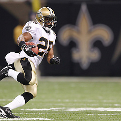 September 9, 2010; New Orleans, LA, USA; New Orleans Saints running back Reggie Bush (25) runs against the Minnesota Vikings during first half of the NFL Kickoff season opener at the Louisiana Superdome. Mandatory Credit: Derick E. Hingle