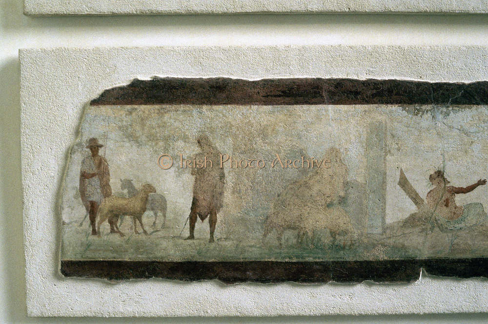 Roman farmers with sheep.  Fragment of wall painting