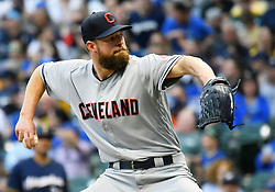 May 8, 2018 - Milwaukee, WI, U.S. - MILWAUKEE, WI - MAY 08: Cleveland Indians Starting pitcher Corey Kluber (28) delivers a pitch during a MLB game between the Milwaukee Brewers and Cleveland Indians on May 8, 2018 at Miller Park in Milwaukee, WI.(Photo by Nick Wosika/Icon Sportswire) (Credit Image: © Nick Wosika/Icon SMI via ZUMA Press)