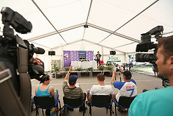 at Press conference of Anze Kopitar, players of NHL team Los Angeles Kings during welcome back party for Anze Kopitar at Hrusica, on June 15, 2013 in Sportni Park Hrusica, Jesenice, Slovenia. (Photo By Matic Klansek Velej/ Sportida.com)