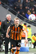 Hull City defender Max Clark (24)  during the EFL Sky Bet Championship match between Hull City and Aston Villa at the KCOM Stadium, Kingston upon Hull, England on 31 March 2018. Picture by Mick Atkins.