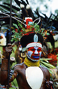 Tribesman in war paints at gathering of tribes, Mount Hagen, Papua New Guinea.