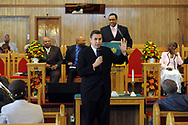 10/17/10 12:25:21 PM -- Darby, PA<br />  -- Democratic Congressional candidate Bryan Lentz speaks with the congregation of First Baptist Church October 17, 2010  in Darby, Pennsylvania. Bryan Lentz  faces Republican Pat Meehan  in the Nov. 2 general election.   --  Photo by William Thomas Cain/Cain Images