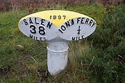 Roadside marker between Iona ferry pier and Salen, Isle of Mull, Scotland.