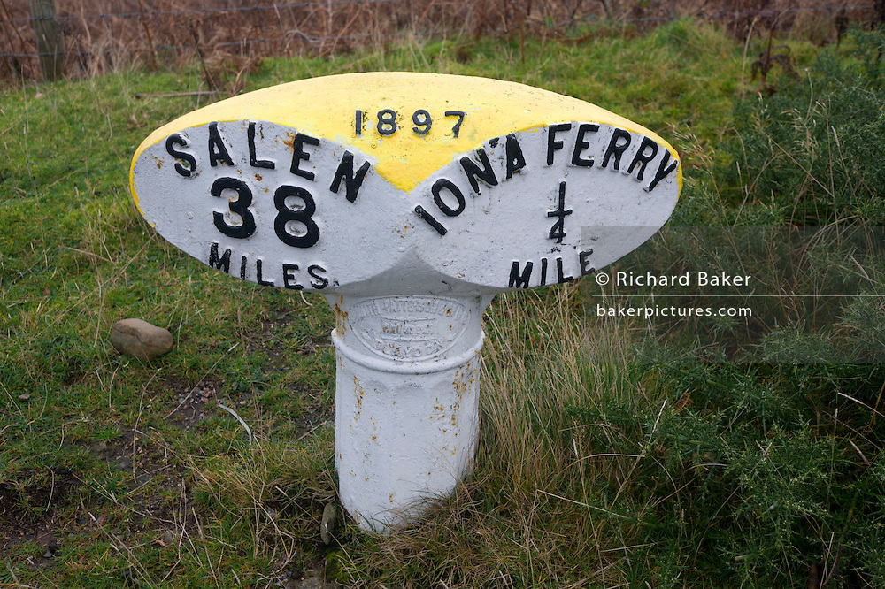 Roadside marker between Iona ferry pier and Salen, Isle of Mull, Scotland.