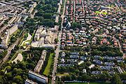 Nederland, Zuid-Holland, Den Haag, 15-07-2012; Sportlaan met flats uit de wederopbouw periode, Hagaziekenhuis (lokatie Sportlaan), rechts in beeld de Vogelwijk..Aan weerszijden van de Sportlaan de 'Atlantikwall strook'. In dit gebied is tijdens de Tweede Wereldoorlog de bevolking geëvacueerd en de bebouwing ontruimd en/of gesloopt ivm aanleg tankgracht. .On both sides of the Sportlaan the Atlantic Wall strip. During the Second World War, the population of this area was evacuated and some of the buildings were demolished in order to build a antitank ditch. Post-war reconstruction appartment buildings...QQQ.luchtfoto (toeslag), aerial photo (additional fee required).foto/photo Siebe Swart