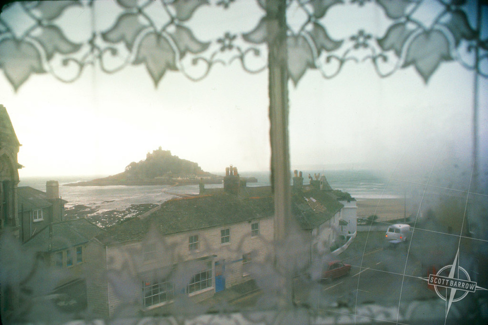 1977_Window_On_Mount_St_Michael.  Cornwall, England.