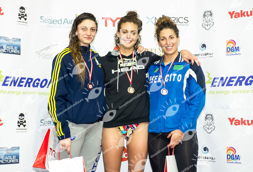100 rana donne podio<br /> Scarcella Ilaria Aniene, Carraro Martina Azzurra91, Celli Elisa Esercito<br /> VI Trofeo Citta di Milano Swimming Nuoto<br /> Day 02 - 19 Marzo 2016<br /> D. Samuele Swimming Pool<br /> Milano Italy<br /> Photo P.Mesiano/Deepbluemedia/Inside