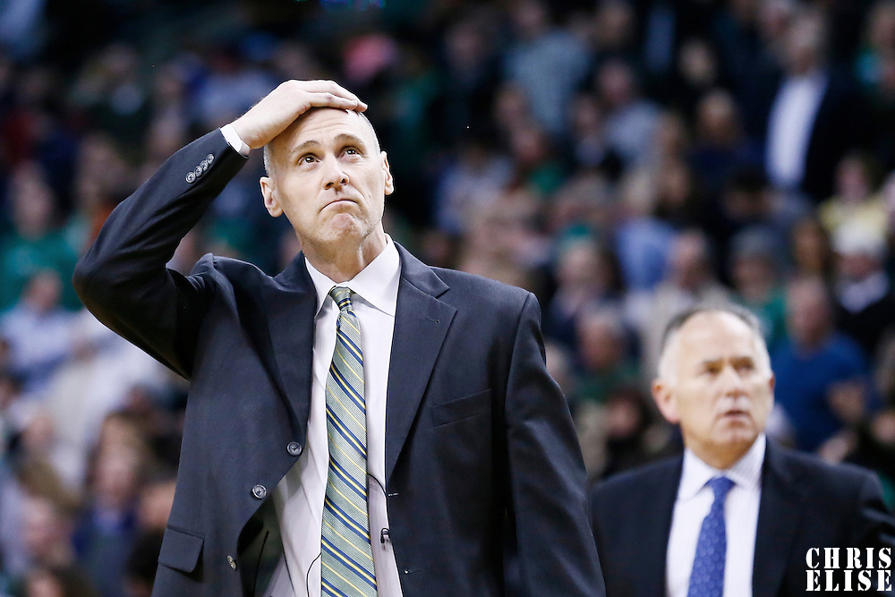 12 December 2012: Dallas Mavericks head coach Rick Carlisle looks dejected during the Boston Celtics 117-115 2 overtimes victory over the Dallas Mavericks at the TD Garden, Boston, Massachusetts, USA.