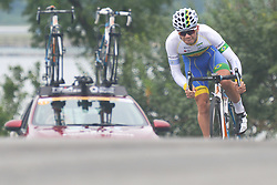 September 15, 2017 - Chenghu City, United States - Gabriel Machado Da Silva from Soul Brasil Pro Cycling team during the fourth stage of the 2017 Tour of China 1, the 3.3 km Chenghu Jintang individual time trial. .On Friday, 15 September 2017, in Jintang County, Chenghu City,  Sichuan Province, China. (Credit Image: © Artur Widak/NurPhoto via ZUMA Press)