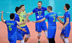 Dejan Vincic #9, Mitja Gasparini #6, Tine Urnaut #17, Alen Pajenk #2, Klemen Cebulj #18 during volleyball match between National teams of Poland and Slovenia in Quarterfinals of 2015 CEV Volleyball European Championship - Men, on October 14, 2015 in Arena Armeec, Sofia, Bulgaria. Photo by Ronald Hoogendoorn / Sportida