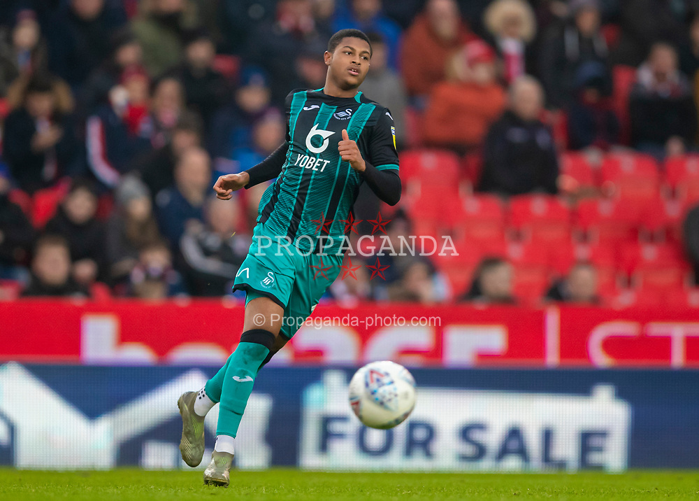 STOKE-ON-TRENT, ENGLAND - Saturday, January 25, 2020: For sale... Swansea City's Rhian Brewster during the Football League Championship match between Stoke City FC and Swansea City FC at the Britannia Stadium. (Pic by David Rawcliffe/Propaganda)
