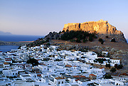 Greece, Rhodes, Acropolis and town of Lindos
