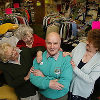 David Robertson...10.5.2002.  Attn: Daily Mail Pix.<br />Comrie's Mr Charity, Dave Robertson at the Comrie Cancer Club with three of the other 16 shop volunteers, from left, Sheila Tanner, Dave's wife Jessie and Shirley Wilson.<br /><br />Picture by John Lindsay .<br />COPYRIGHT: Perthshire Picture Agency.<br />Tel. 01738 623350 / 07775 852112.